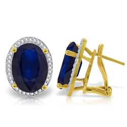 ALARRI 13.16 Carat 14K Solid Gold French Clips Earrings Diamond Sapphire