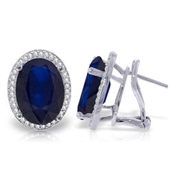 ALARRI 13.16 Carat 14K Solid White Gold French Clips Earrings Diamond Sapphire