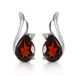 ALARRI 4.06 CTW 14K Solid White Gold Stud Earrings Diamond Garnet