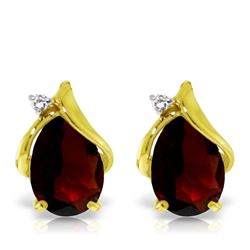 ALARRI 4.06 Carat 14K Solid Gold Stud Earrings Diamond Garnet