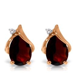 ALARRI 4.06 Carat 14K Solid Rose Gold Stud Earrings Diamond Garnet