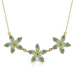 ALARRI 4.2 Carat 14K Solid Gold Necklace Natural Green Amethyst