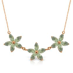 ALARRI 4.2 Carat 14K Solid Rose Gold Necklace Natural Green Amethyst