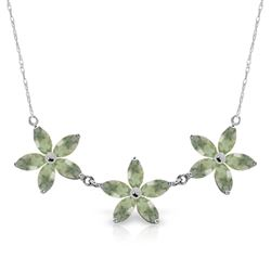 ALARRI 4.2 Carat 14K Solid White Gold Necklace Natural Green Amethyst