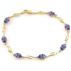 ALARRI 14K Solid Gold Tennis Bracelet w/ Tanzanite & Diamonds