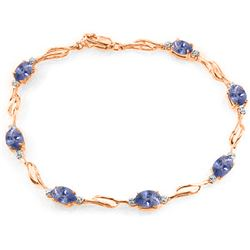 ALARRI 14K Solid Rose Gold Tennis Bracelet w/ Tanzanite & Diamonds