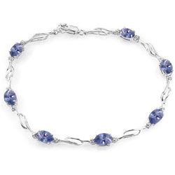 ALARRI 14K Solid White Gold Tennis Bracelet w/ Tanzanite & Diamonds