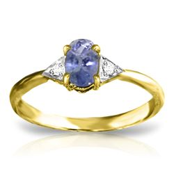 ALARRI 14K Solid Gold Ring w/ Diamonds & Tanzanite