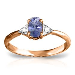 ALARRI 14K Solid Rose Gold Ring w/ Diamonds & Tanzanite