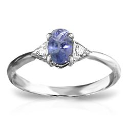 ALARRI 14K Solid White Gold Ring w/ Diamonds & Tanzanite