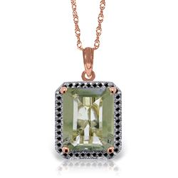 ALARRI 14K Solid Rose Gold Necklace w/ Natural Black Diamonds & Green Amethyst