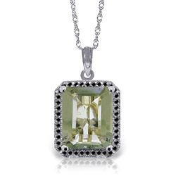 ALARRI 14K Solid White Gold Necklace w/ Natural Black Diamonds & Green Amethyst