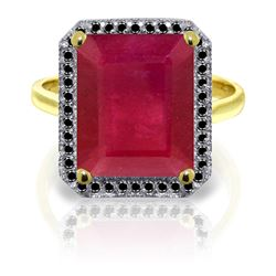 ALARRI 14K Solid Gold Ring w/ Natural Black Diamonds & Ruby