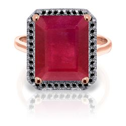 ALARRI 14K Solid Rose Gold Ring w/ Natural Black Diamonds & Ruby