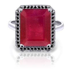 ALARRI 14K Solid White Gold Ring w/ Natural Black Diamonds & Ruby