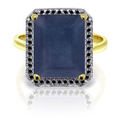 ALARRI 14K Solid Gold Ring w/ Natural Black Diamonds & Sapphire
