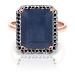 ALARRI 14K Solid Rose Gold Ring w/ Natural Black Diamonds & Sapphire