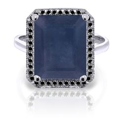 ALARRI 14K Solid White Gold Ring w/ Natural Black Diamonds & Sapphire