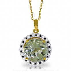 ALARRI 14K Solid Gold Black / White Diamonds & Green Amethyst Necklace