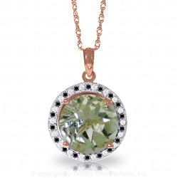 ALARRI 14K Solid Rose Gold Black / White Diamonds & Green Amethyst Necklace