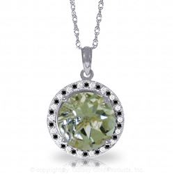 ALARRI 14K Solid White Gold Black / White Diamonds & Green Amethyst Necklace