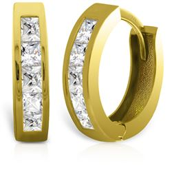 ALARRI 14K Solid Gold Hoop Huggie Earrings w/ Princess Cut Diamonds