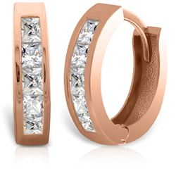 ALARRI 14K Solid Rose Gold Hoop Huggie Earrings w/ Princess Cut Diamonds