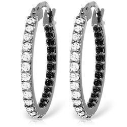 ALARRI 14K Solid White Gold Hoop Earrings w/ Natural Black & White Diamonds