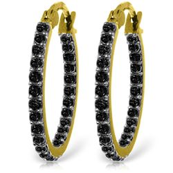 ALARRI 14K Solid Gold Hoop Earrings w/ Natural Black Diamonds