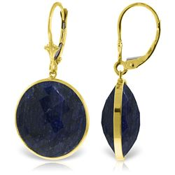 ALARRI 14K Solid Gold Leverback Earrings w/ Checkerboard Cut Round Sapphires