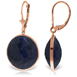 ALARRI 14K Solid Rose Gold Leverback Earrings w/ Checkerboard Cut Round Sapphires