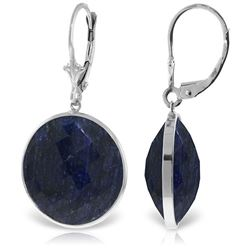 ALARRI 14K Solid White Gold Leverback Earrings w/ Checkerboard Cut Round Sapphires