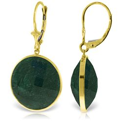 ALARRI 14K Solid Gold Leverback Earrings w/ Checkerboard Cut Round Emerald Color Corundum