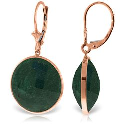 ALARRI 14K Solid Rose Gold Leverback Earrings w/ Checkerboard Cut Round Emerald Color Corundum
