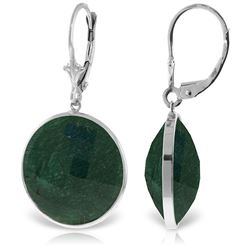 ALARRI 14K Solid White Gold Leverback Earrings w/ Checkerboard Cut Round Emerald Color Corundum