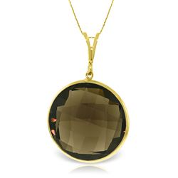 ALARRI 14K Solid Gold Necklace w/ Checkerboard Cut Round Smoky Quartz