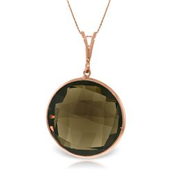 ALARRI 14K Solid Rose Gold Necklace w/ Checkerboard Cut Round Smoky Quartz