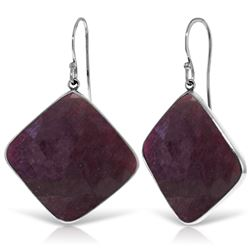 ALARRI 14K Solid White Gold Fish Hook Earrings w/ Checkerboard Cut Dyed Rubies