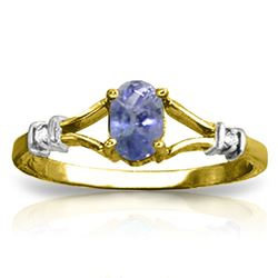 ALARRI 14K Solid Gold Ring w/ Natural Diamonds & Tanzanite