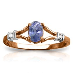 ALARRI 14K Solid Rose Gold Ring w/ Natural Diamonds & Tanzanite