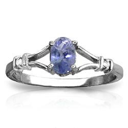 ALARRI 14K Solid White Gold Ring w/ Natural Diamonds & Tanzanite
