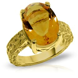 ALARRI 14K Solid Gold Ring w/ Natural Oval Citrine