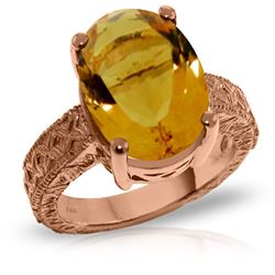 ALARRI 14K Solid Rose Gold Ring w/ Natural Oval Citrine