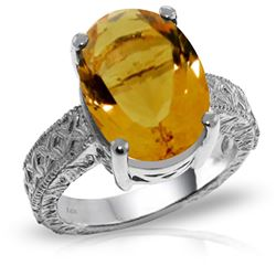 ALARRI 14K Solid White Gold Ring w/ Natural Oval Citrine