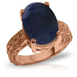 ALARRI 14K Solid Rose Gold Ring w/ Natural Oval Sapphire