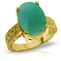ALARRI 14K Solid Gold Ring w/ Natural Oval Emerald