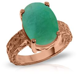 ALARRI 14K Solid Rose Gold Ring w/ Natural Oval Emerald