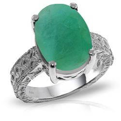 ALARRI 14K Solid White Gold Ring w/ Natural Oval Emerald