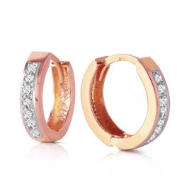 ALARRI 14K Solid Rose Gold Hoop Huggie Earrings w/ Diamonds