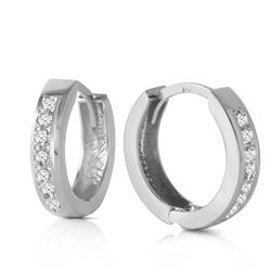 ALARRI 14K Solid White Gold Hoop Huggie Earrings w/ Diamonds